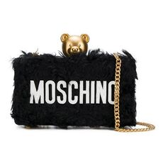 Moschino Textured Teddy Clutch Bag Black