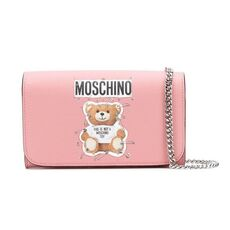 Moschino Safety Pin Teddy Chain Wallet Pink