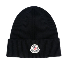 Moncler Ribbed Beanie Hat Navy