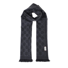 Gucci Gg Jacquard Pattern Knitted Scarf Grey