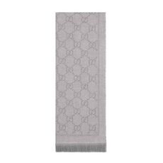 Gucci Gg Jacquard Pattern Knitted Scarf Silver