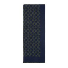 Gucci Double Jacquard Gg Wool Scarf Navy/Green