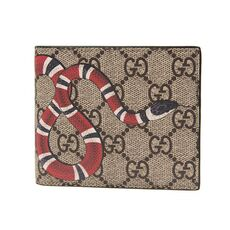 Gucci Kingsnake Print Gg Supreme Bi-Fold Wallet Brown