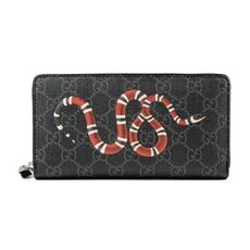 Gucci Kingsnake Print Gg Supreme Zip Around Wallet Black