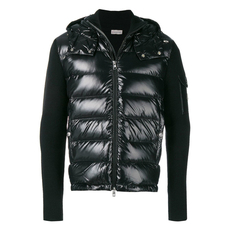 "Moncler ""Cardigan"" Knitted Sleeve Hooded Down Jacket Black"