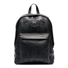Kenzo Tiger Logo Embroidered Leather Backpack Black