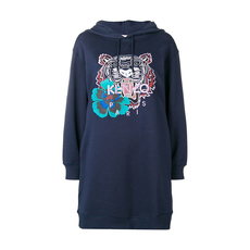 Kenzo Tiger Head Embroidered Hooded Sweatshirt Dress Navy Blue
