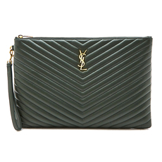 Saint Laurent Monogram Document Holder Dark Green