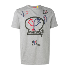 Moncler Genius 1952 Paint Logo-Print T-Shirt Grey