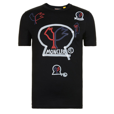 Moncler Genius 1952 Paint Logo-Print T-Shirt Black