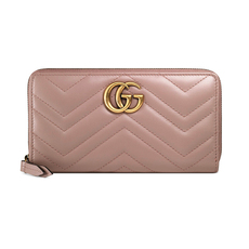 Gucci GG Marmont Zip Around Wallet Dusty Pink