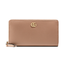 Gucci GG Marmont Leather Zip Around Wallet Dusty Pink