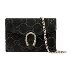 Gucci Dionysus Gg Velvet Mini Chain Wallet Black