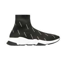 Balenciaga Speed(10Mm Arch) Knit Sock Two-Tone Sole And All-Over Logo Printed Women's Sneakers Black/White