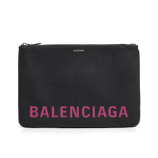 Balenciaga Ville Large Clutch Bag Black/Bubble Gum