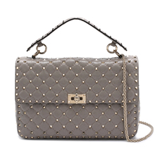 Valentino Garavani Rockstud Spike Medium Shoulder Bag Pastel Grey