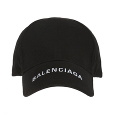 Balenciaga Logo Embroidered Cap Black