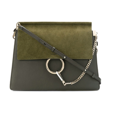 Chloe Faye In Smooth Calfskin & Suede Calfskin Shoulder Bag Deep Forest