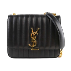 Saint Laurent Vicky Large In Matelassé Lambskin Crossbody Bag Black