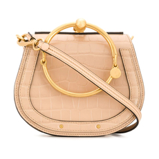 Chloe Small Nile Bracelet In Embossed Croco Effect On Calfskin Crossbody Bag Nut