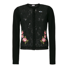 Red Valentino Lace Floral Embellished Cardigan Black