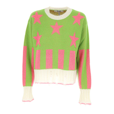 Msgm Distressed Star Sweater Green,Pink