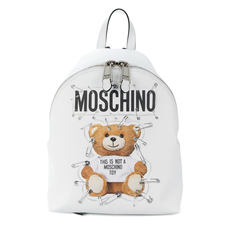 Moschino Safety Pin Teddy Medium Backpack White