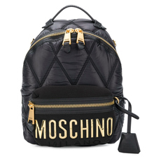 Moschino Medium Quilted Logo Backpack Black/Gold