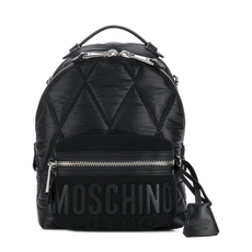 Moschino Medium Quilted Logo Backpack Black/Black