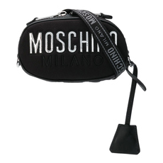 Moschino Quilted Logo Crossbody Bag Black/Silver