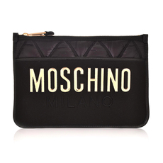 Moschino Quilted Nylon With Mirror Logo Clutch Bag Black/Gold