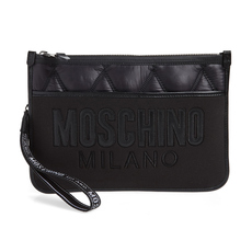 Moschino Quilted Nylon With Mirror Logo Clutch Bag Black/Black