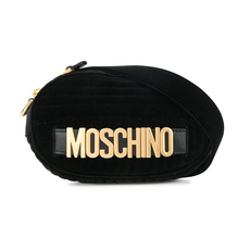 Moschino Logo Velvet Belt Bag Black