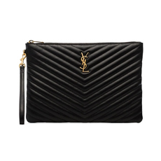 Saint Laurent Matelasse Leather Monogram Clutch Bag Black