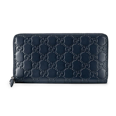 Gucci Signature Zip Around Wallet Blue