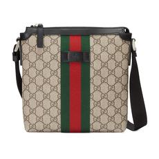 44f411e7c51f04 Gucci Web Gg Supreme Flat Messenger Bag Beige/Ebony