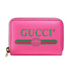 Gucci Logo Print Card Holder Pink