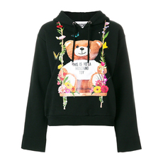 Moschino Teddy Bear Floral Design Hooded Hoodie Black