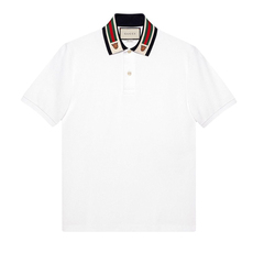 Gucci Web and Feline Head Polo Tee White