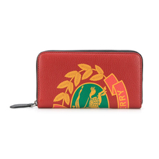 Burberry Crest Print Zip Around Wallet Rust Red