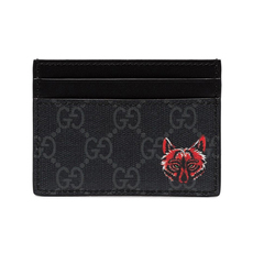 Gucci Wolf Head Gg Card Holder Black Grey