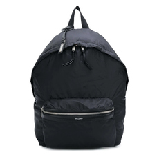 Saint Laurent City in Soft Black Leather Foldable Backpack Black