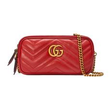 d5610adb4bed71 Gucci GG Marmont Mini Chain Crossbody Bag Hibiscus Red