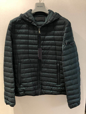 Prada Sleeve Zipped Pocket Hooded Down Jacket Green
