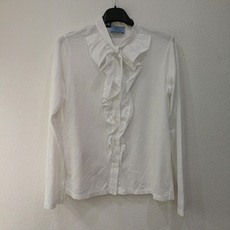Prada Ruffled Bid Top White