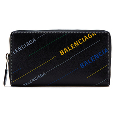 Balenciaga Bazar Continental Zip Around Wallet Black