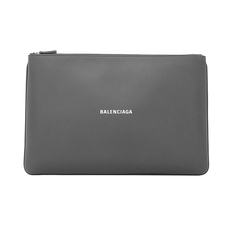 "Balenciaga Logo Print ""Everyday"" Clutch Bag Grey"