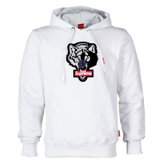 Supreme Spain Wolf Embroidery Hoodie White