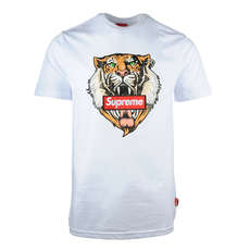Supreme Spain Tiger Print And Red Boxlogo Embroidered T-Shirt White
