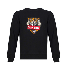 Supreme Spain Tiger Embroidery Sweatshirt Black